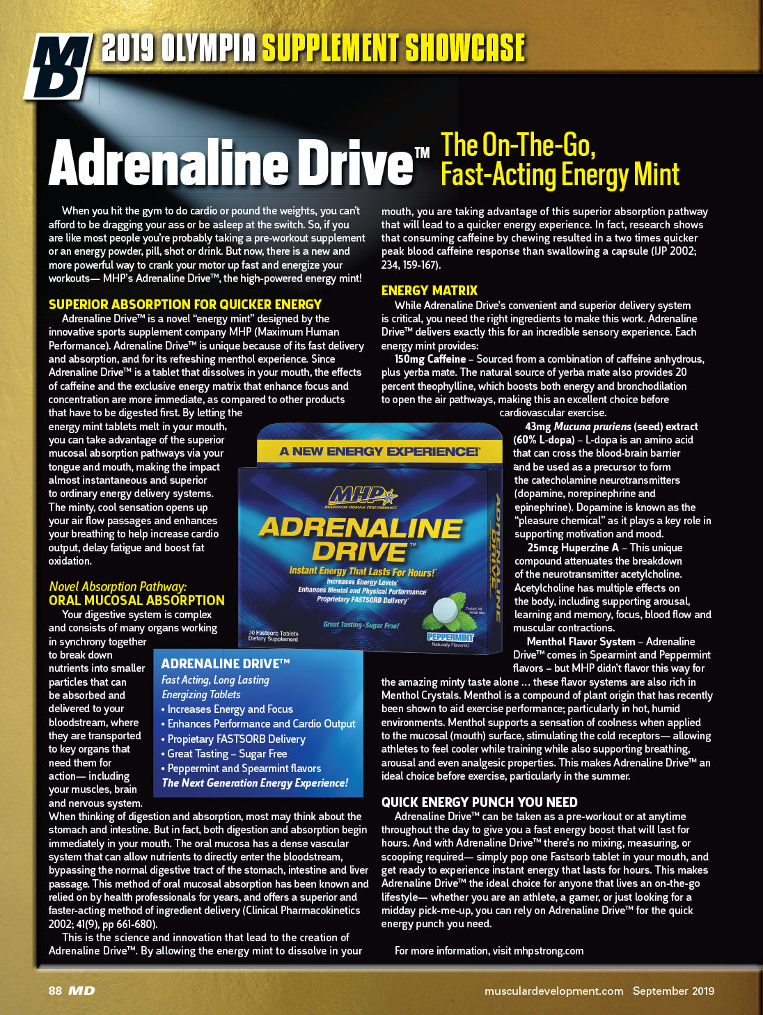 Adrenaline Drive Article in MD