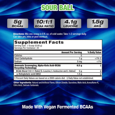 MHP BCAA STRONG - SOUR BALL SUPPLEMENT FACTS