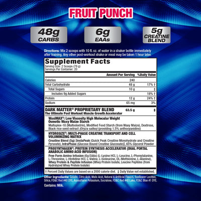MHP Dark Matter FRUIT PUNCH SUPPLEMENT FACTS