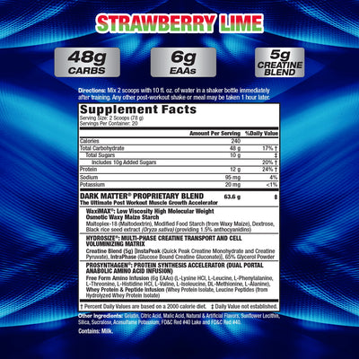 MHP Dark Matter STRAWBERRY LIME SUPPLEMENT FACTS