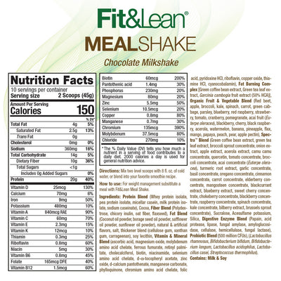FIT & LEAN MEAL SHAKE CHOCOLATE SUPPLEMENT FACTS