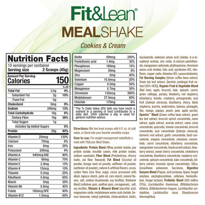 FIT & LEAN MEAL SHAKE COOKIES & CREAM SUPPLEMENT FACTS