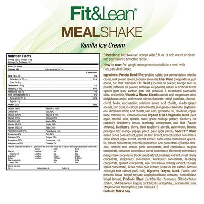 FIT & LEAN MEAL SHAKE VANILLA SUPPLEMENT FACT