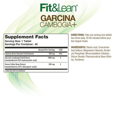 FIT&LEAN GARCINA CAMBOGIA+ SUPPLEMENT FACTS