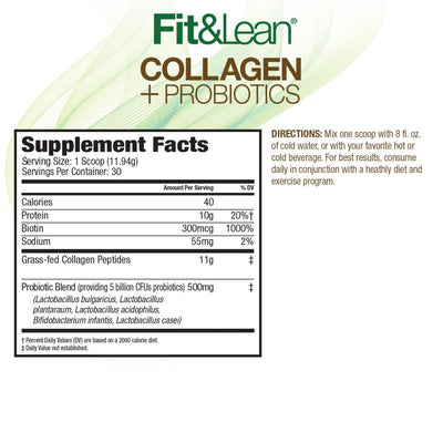 FIT&LEAN COLLAGEN+ PROBIOTICS SUPPLEMEN T FACTS