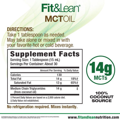 FIT&LEAN KETO MCT OIL SUPPLEMENT FACTS AND DIRECTIONS