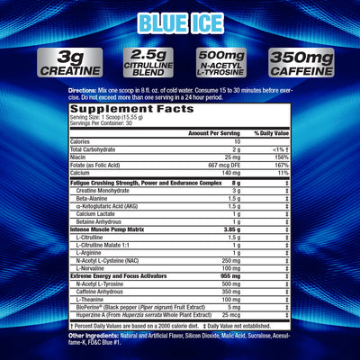 MHP Hyper Crush BLUE ICE SUPPLEMENT FACTS