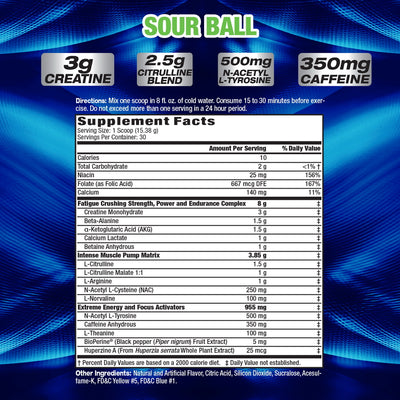 MHP Hyper Crush SOUR BALL SUPPLEMENT FACTS