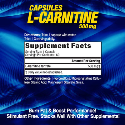 MHP L-Carnitine Supplement Facts