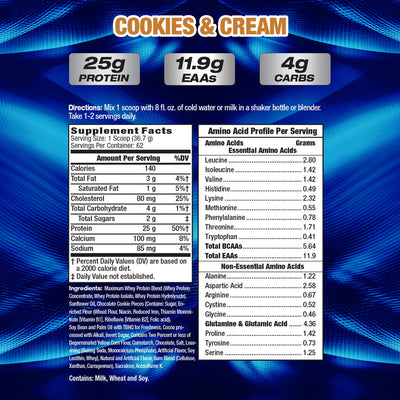 MHP Maximum Whey COOKIES AND CREME SUPPLEMENT FACTS