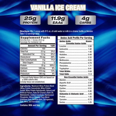 MHP Maximum Whey Maximum SUPPLEMENT FACTS