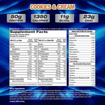 MHP Up Your Mass COOKIES AND CREAM SUPPLEMENT FACTS