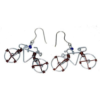 Hand-made Wire Bicycle Earrings From Recycled Wire