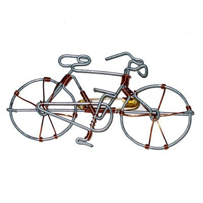 Hand-made Bicycle Pin From Recycled Wire