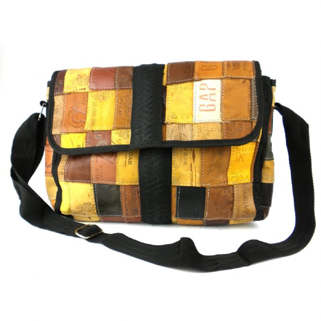 Upcycled Leather Label Butler Bag With Tire Accent