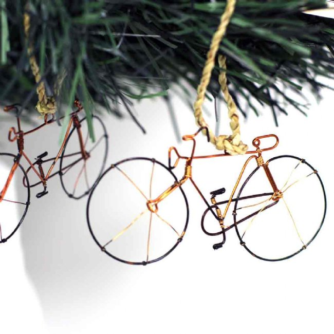 Bicycle Tree Ornament Hand-made From Recycled Wire