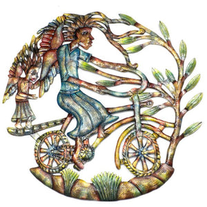 Angels on Bicycle - Hand Painted 24-inch Metal Wall Art