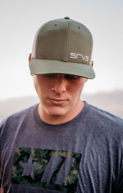 Fort Carson trucker cap - OD Green/White