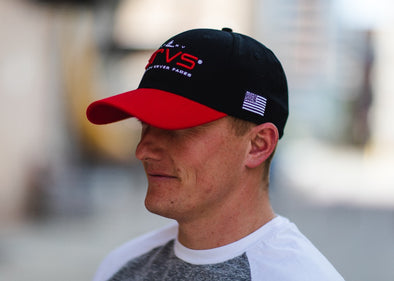 Fort Riley Flex Hat - Black w/ Red Bill