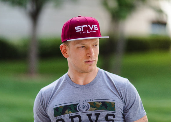 Fort McCoy Snapback Hat - Burgundy w/ Grey Bill