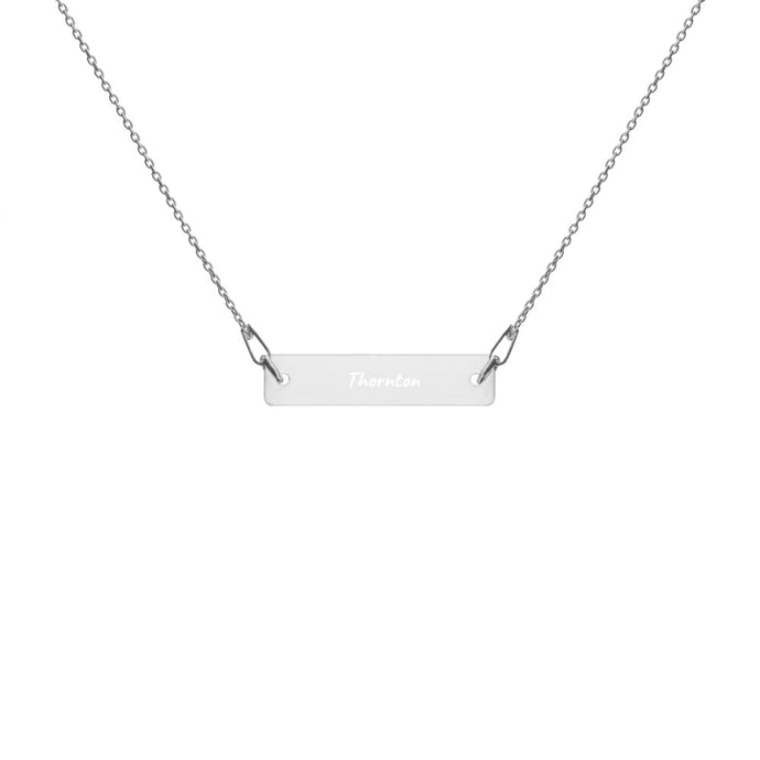 NEW Engraved Silver Bar Chain Necklace with Thornton - customize with your year or initials!
