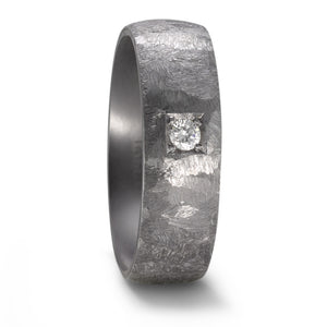 Diamond & Textured TANTALUM, Ultra comfort fit, Wedding/Engagement Ring (5 to 6mm)