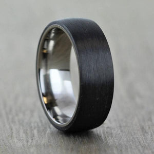 Titanium & Carbon Fibre, Comfort Fit Wedding Ring with FREE Engraving! (5 to 6mm)