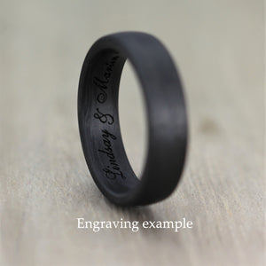 Carbon Fibre, comfort fit, Wedding Ring with FREE engraving! (5 or 6mm)