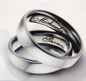 Wedding Band Set, 6mm Carbon Fiber & Titanium, customizable with FREE engraving!