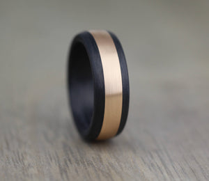 8mm Carbon Fibre & 14k Rose Gold Wedding/Engagement ring with FREE Engraving!