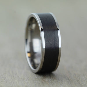 8mm Titanium & Carbon Fibre Wedding/Engagement Ring with FREE engraving!