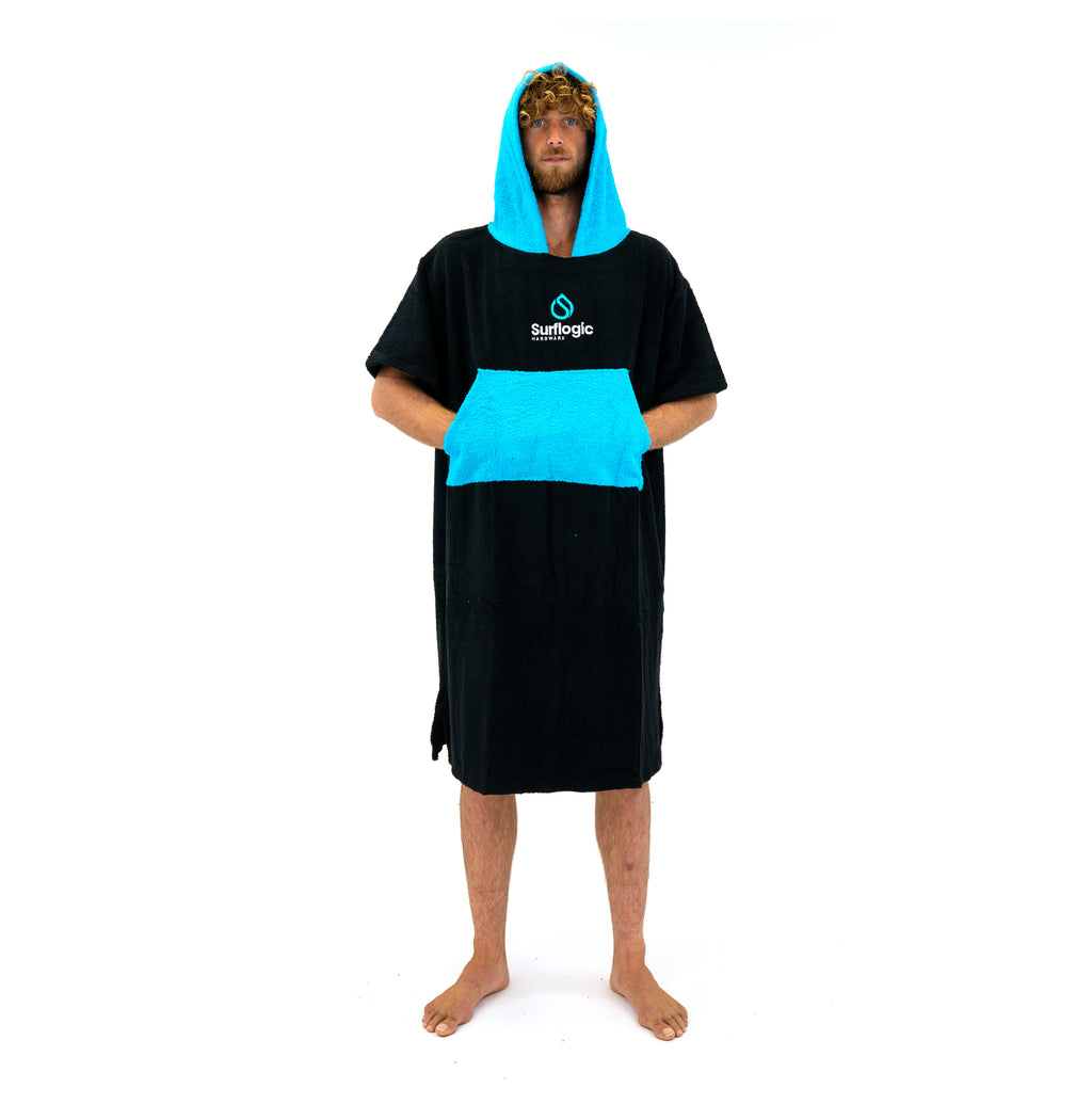 Surflogic Black and Turquoise Hooded Surf Robe Cronulla Sharks Theme Australia New Zealand