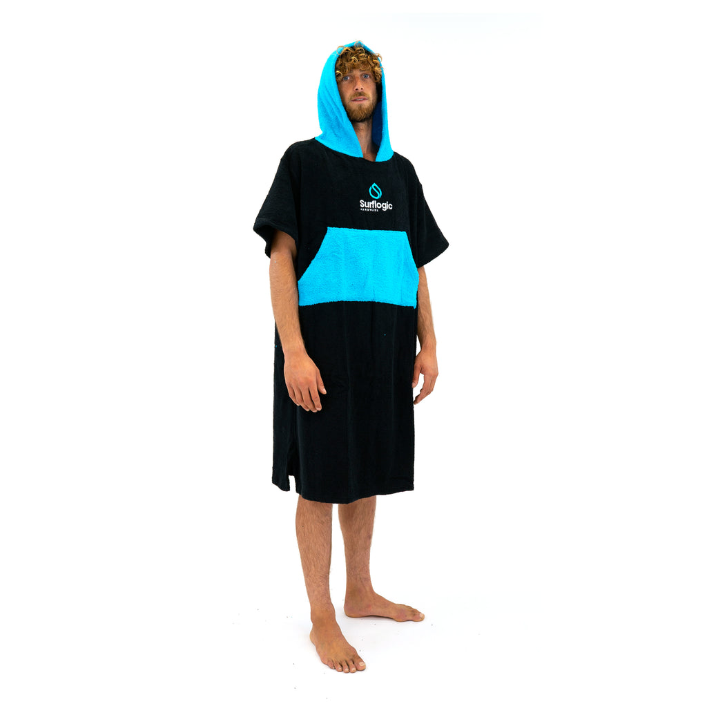 Hooded Surf Poncho Change Towel Surflogic Australia New Zealand Black and Cyan