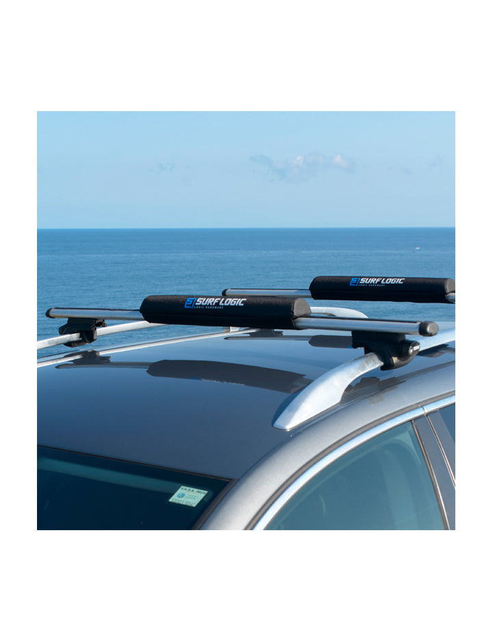 "Surflogic Aero Roof Rack Pads For Aerodynamic Roof Racks 70cm / 28"" demonstrated use on car"