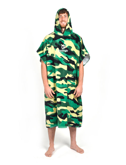 Surflogic Camo Towel Surf Poncho Worn by a Surfer