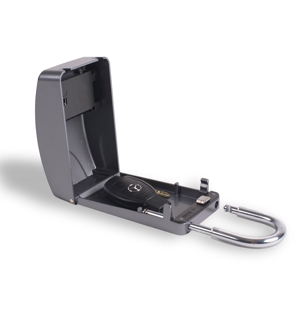 Surflogic Silver Maxi Key Vault Car Key Lock Box Open with Mercedes Key Inside