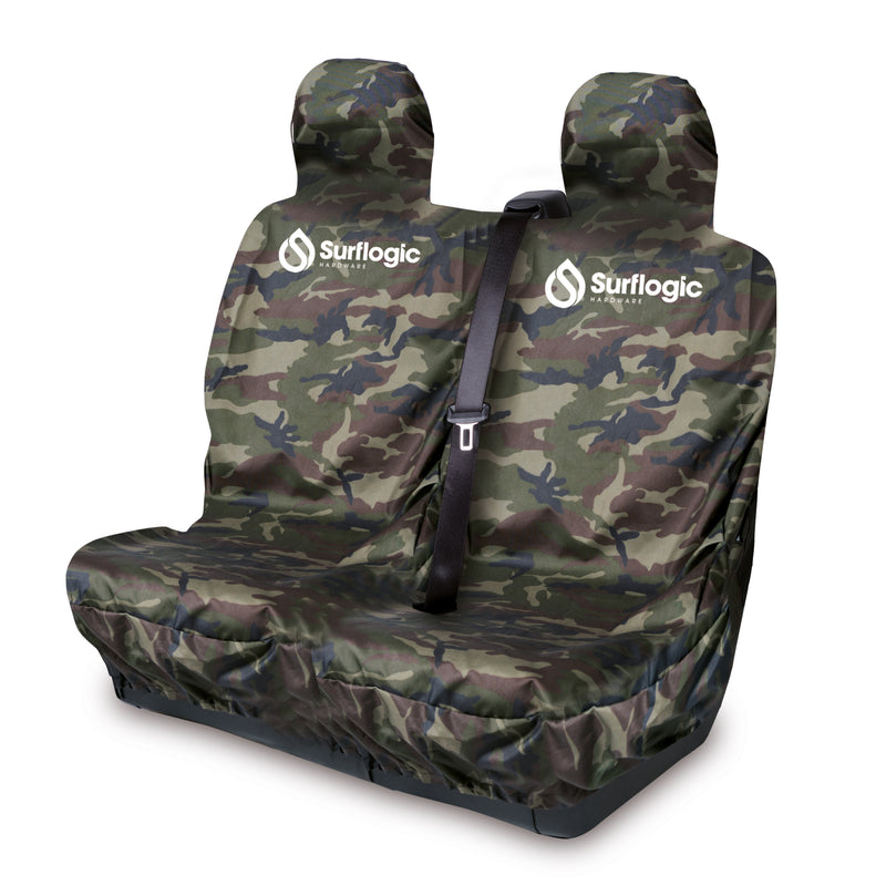 Surflogic Camo Waterproof Double Seat Car Seat Cover with Seatbelt Shoulder Stap Cut Outs for Use in Vans, Trucks, Utes