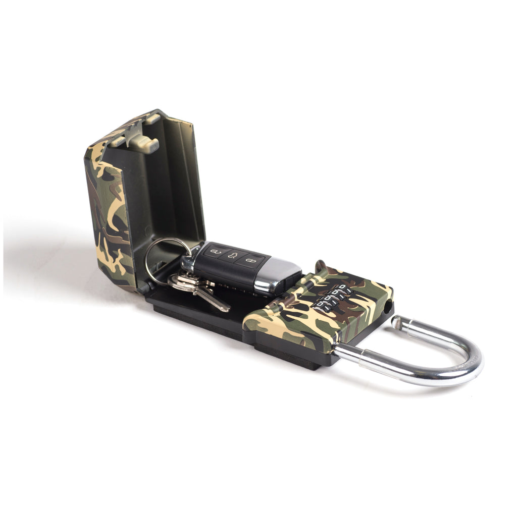 Surflogic Standard Camo Key Vault Car Key Security Lock Box Open and Showing How to Put a Key Inside