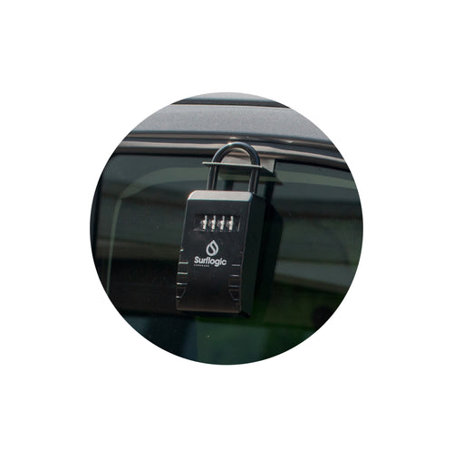 Close Up Image of Surflogic Car Window Key Vault Lock Box Window Hanging Accessory In Use