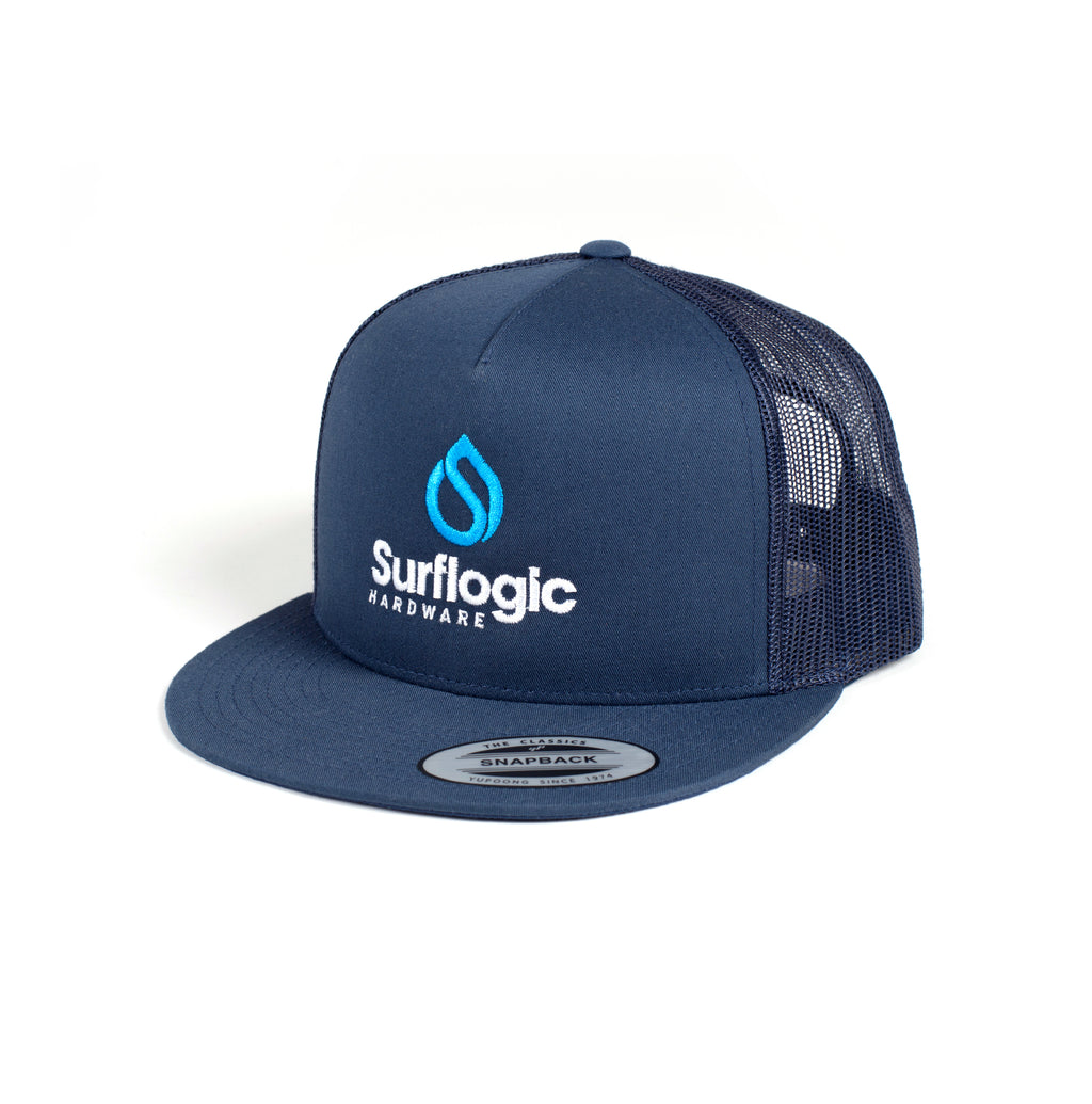 Surflogic Flexifit Snapback Flat Brim Navy Blue Baseball Hat