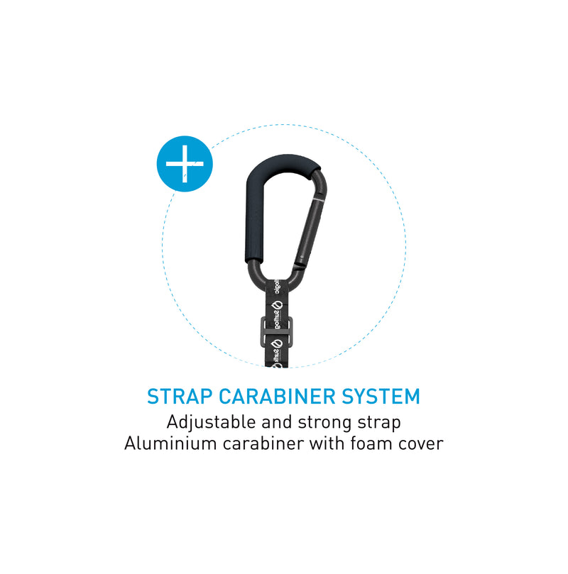 Surflogic Double System Wetsuit Hanger Strap Carabiner System Details Adjustable Strong Nylon Strap and Protective Foam Cover