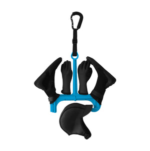 Surflogic Wetsuit Accessory Hanger Double System Fully Loaded with Neoprene Hood, Booties and Gloves with Strap Carabiner Accessory System Attached