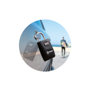 Surflogic Black Maxi Key Vault Car Key Lock Box Secured on a Car Door Handle and Surfer with Surfboard Walking to Beach