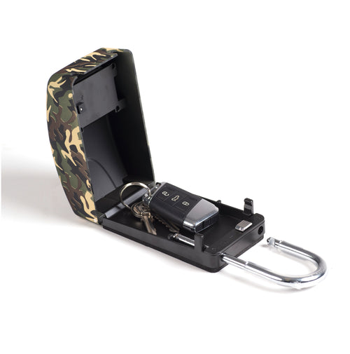 Surflogic Camo Maxi Key Vault Car Lock Box Open With Car Key Inside to Demonstrate How to Use