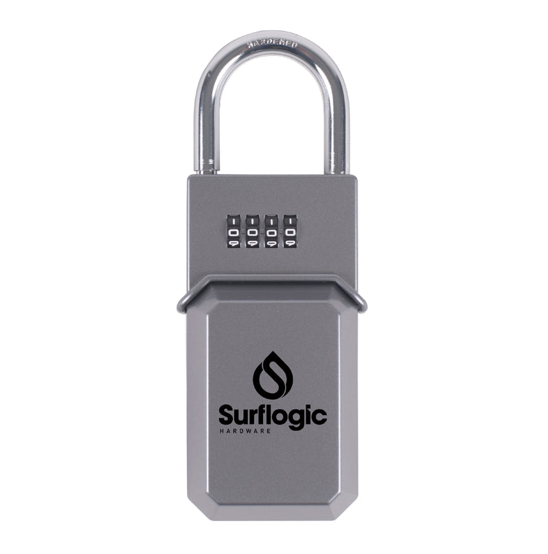 Surflogic Standard Silver Key Vault Car Key Security Lock Box Secured to Car Door and Surfer with Shortboard Walking to the Beach to go Surf