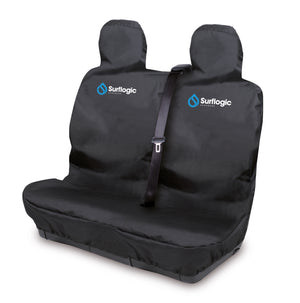 Surflogic Black Waterproof Double Seat Car Seat Cover with Seat Belt Shoulder Stap Cut Outs for Use in Vans, Trucks, Utes