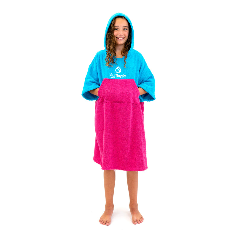 Surflogic Cyan Blue & Hot Pink Hooded Towel Surf Poncho (Jr Size)