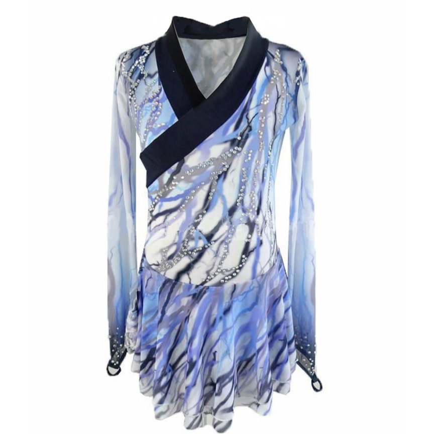 Blue and Gray Singles or Pairs Skating Dress