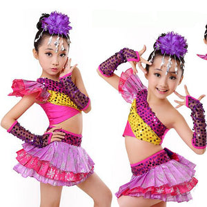 Girl's Purple Sequined Jazzy Creative Dance Costumes
