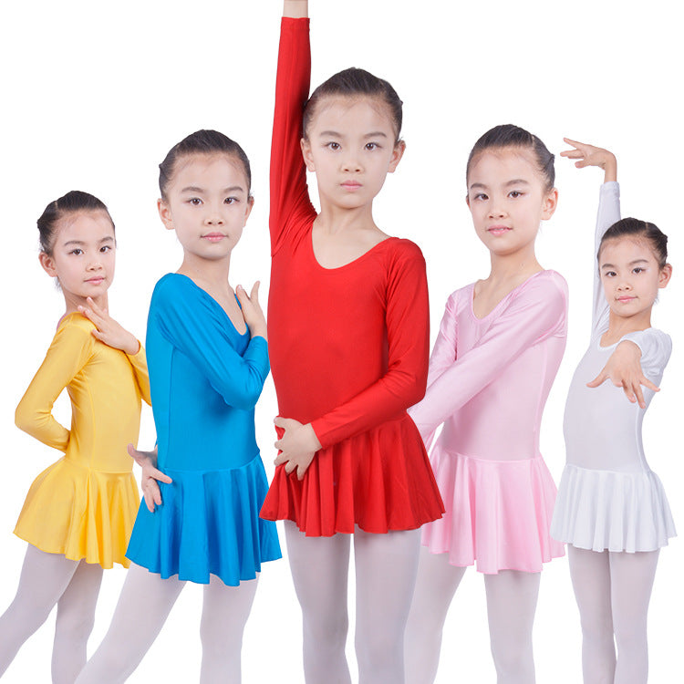 Kids Long sleeved Spandex Skating Dresses